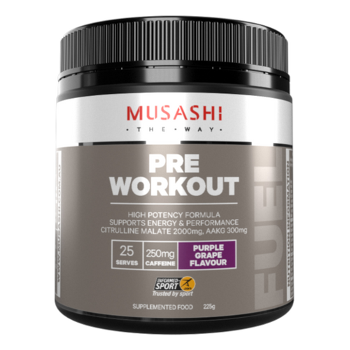 Musashi Pre-Workout Energy & Performance Purple Grape with BCAAs is designed to challenge your training and workouts