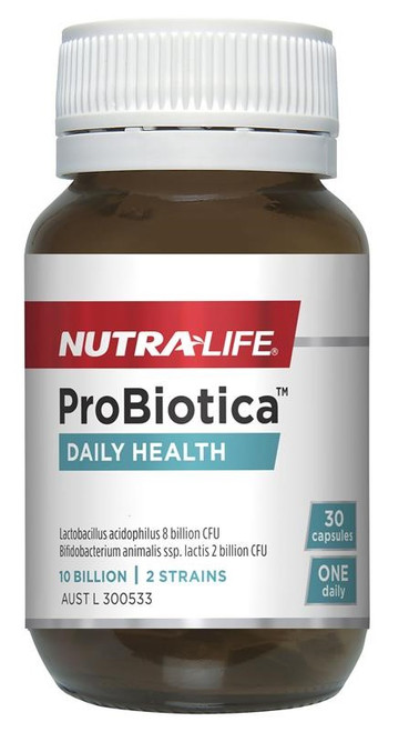 Nutra-life Probiotica Daily Health one-a-day probiotic formula contains two researched strains of friendly bacteria which supports immunity, digestion and the absorption of nutrients.