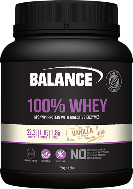Balance Sports Nutrition 100% Whey Vanilla is a high protein, gluten free blend with added digestive enzymes to meet the heavy demands of training whether your priority is building lean muscle, improving recovery or both