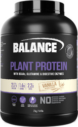 Balance Sports Nutrition Plant Protein Vanilla is a natural, vegan friendly blend of pea protein, organic brown rice protein concentrate, chia protein, sacha inchi powder, essential BCAAs, glutamine and digestive enzymes