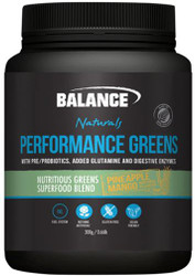 Balance Sports Nutrition Performance Greens Pineapple Mango flavour contains a concentrated blend of 7 nutrient rich superfood ingredients to support vitality with Prebiotics, Probiotics,Digestive Enzymes and Glutamine