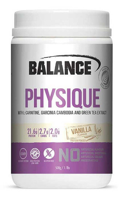 Balance Sports Nutrition Physique Vanilla is an advanced formula with high protein to support maintenance of muscle and bones.