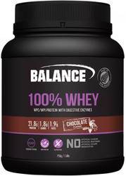 Balance Sports Nutrition 100% Whey Chocolate is a high protein, gluten free blend with added digestive enzymes to meet the heavy demands of training whether your priority is building lean muscle, improving recovery or both