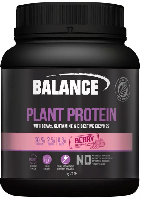Balance Sports Nutrition Plant Protein Berry is a natural, vegan friendly blend of pea protein, organic brown rice protein concentrate, chia protein, sacha inchi powder, essential BCAAs, glutamine and digestive enzymes