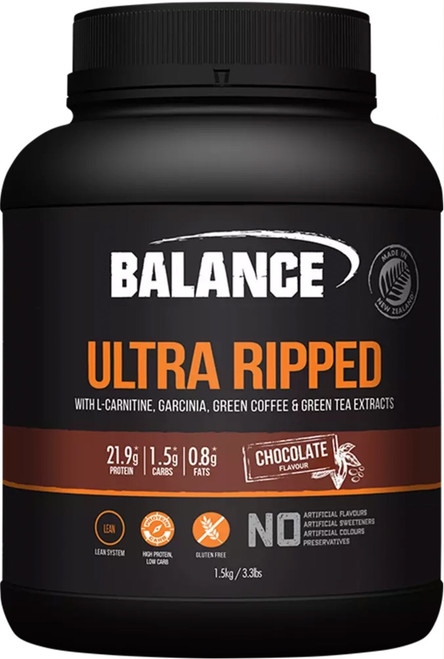 Balance Sports Nutrition Ultra Ripped Chocolate is a is a high protein, gluten free blend of Whey Protein Isolate, Whey Protein Concentrate, Garcinia Cambogia, L-Carnitine, Green Coffee extract and Green Tea extract to reach your lean muscle goals.
