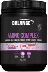 Balance Sports Nutrition Amino Complex Fruit Punch Intra Workout formulation that contains a blend of BCAAs, EAAs, Glutamine and Red Nite Beetroot Juice Powder to provide you with a pure performance edge during your workout.