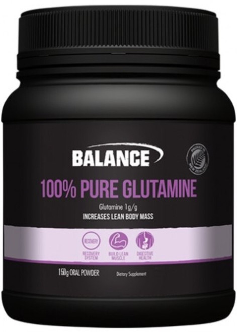 Balance Sports Nutrition 100% Pure Glutamine amino acid stimulates and inhibits the degradation of proteins in the body to assist with recovery and lean muscle growth, also supporting gut health and the immune system.