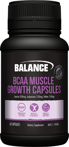 Balance Sports Nutrition BCAA Muscle Growth Branched Chain Amino Acids supporting muscle maintenance and recovery following workouts or training.