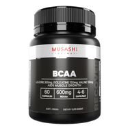 Musashi BCAA Muscle Recovery capsules contain a specific blend of Branched Chain Amino Acids - BCAAs (L-Leucine, L-Valine and L-Isoleucine). BCAA's cannot be produced by the body