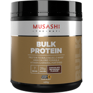 Musashi Bulk Protein Chocolate for body builders and athletes looking to maximise muscle growth and replenish glycogen stores providing protein to build muscle mass