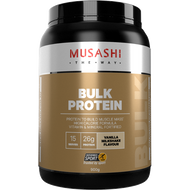 Musashi Bulk Protein Vanilla for body builders and athletes looking to maximise muscle growth and replenish glycogen stores providing protein to build muscle mass