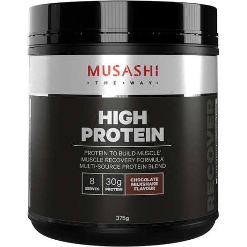 Musashi High Protein Chocolate Milkshake flavour is a quality formulation of whey protein to support your active lifestyle and training goals.