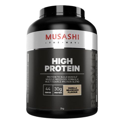 Musashi High Protein Vanilla Milkshake flavour is a quality formulation of whey protein to support your active lifestyle and training goals.