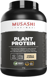 Musashi Plant Protein Vanilla is a super-premium vegan blend containing a synergistic combination of pea, brown rice and hemp protein for muscle growth and repair.