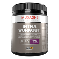 Musashi Intra-Workout Purple Grape is a BCAA, EAA & Mineral Complex to support muscle protein synthesis, energy and performance
