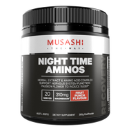 Musashi Night Time Aminos is a high performance recovery blend including a Herbal extract and amino acid complex to support nervous system function with Passionflower to induce sleep