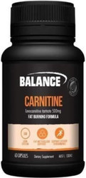 Balance Sports Nutrition Carnitine Fat Burning Formula providing Carnitine, an amino acid that plays a role in fat metabolism.