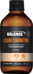 Balance Sports Nutrition Liquid Carnitine Fat Metabolism Suport provides Carnitine as an amino acid derivative that plays a role in fat metabolism.