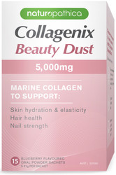 Naturopathica Collagenix Beauty Dust contains 5,000mg of highly bioavailable marine collagen peptides that work together with Vitamin C, a powerful collagen rebuilder, to promote collagen repair.