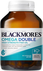 Blackmores Omega Double Fish Oil maintains heart, skin, eye and brain health and relieves joint swelling and inflammation