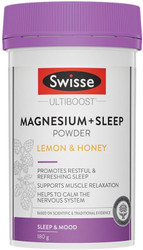 Swisse Ultiboost Magnesium plus Sleep Powder is a blend of eight nutrients and herbs including choline, inositol, hops and passionflower, to promote restful sleep