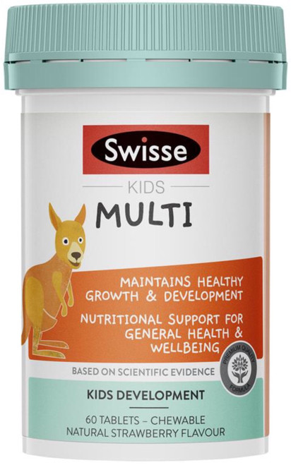 Swisse Kids Multi Chewable Tabs is a sugar free, tooth friendly formula for healthy growth and development in children