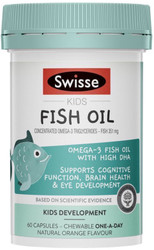 Swisse Kids Fish Oil is a premium quality formula containing omega-3 fatty acids EPA and DHA to support cognitive function, brain health and healthy eye development