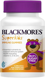 Blackmores Superkids Immune Gummies 99.5% sugar free formulation to support kids' immunity