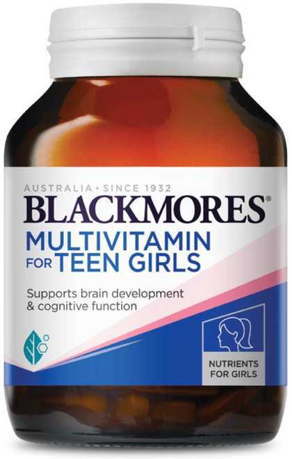Blackmores MultiVitamin for Teen Girls is a Multivitamin and Mineral supplement for Teenagers including five nutrients essential for healthy brain development; Iodine, Omega-3 fatty acids, Iron, Zinc and Vitamin B12