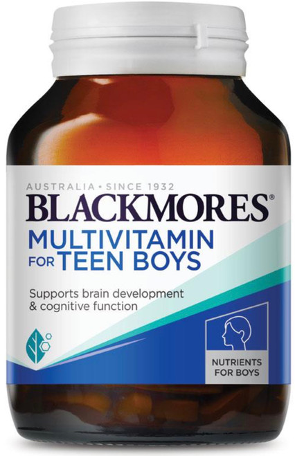 Blackmores MultiVitamin for Teen Boys is a Multivitamin and Mineral supplement for Teenagers including five nutrients essential for healthy brain development; Iodine, Omega-3 fatty acids, Iron, Zinc and Vitamin B12