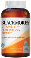 Blackmores Vitamin C plus Elderberry Gummies contains vitamin C which helps to maintain healthy immune system function and elderberry, an additional source of vitamin C