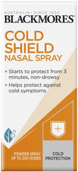 Blackmores Cold Shield Nasal Spray is a powdered nasal spray that turns into a gel in the nose creating a barrier to shield and protect from airborne germs.