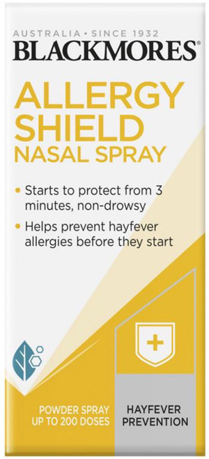 Blackmores Allergy Shield Nasal Spray is a non-drowsy nasal spray that starts to defend against hayfever and airborne allergies within 3 minutes.