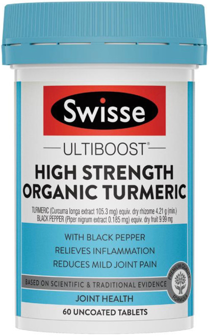Swisse UltiBoost Turmeric High Strength Organic antioxidant activity relieves inflammation and arthritis, supports joint health and reduces joint pain