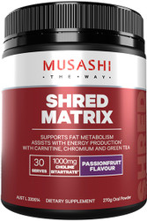 Musashi Shred Matrix with carnitine, chromium and green tea supports fat metabolism and energy production