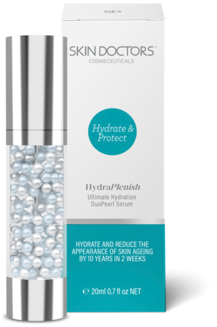 Skin Doctors HydraPlenish DuoPearl Serum is a super skin hydrator clinically proven to reduce skin ageing by 10 years in 2 weeks