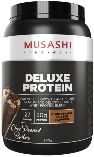 Musashi Deluxe Protein Choc Peanut Butter is a delicious protein source for athletes and bodybuilders looking to maximise lean muscle and optimise recovery