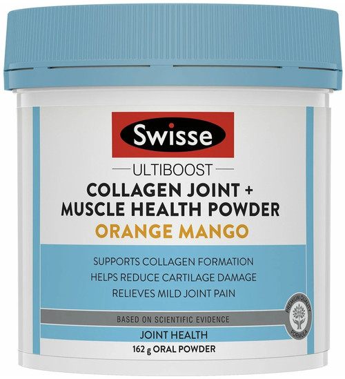 Swisse Ultiboost Collagen Joint + Muscle Health Powder Orange Mango supports collagen formation, reducing cartilage damage and relieving joint pain