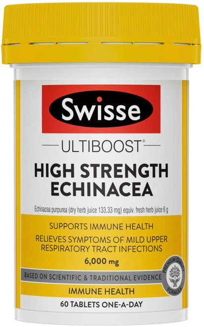Swisse Ultiboost High Strength Echinacea is a premium quality formula to help support healthy immune system function and relieve symptoms of mild upper respiratory tract infections.