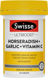 Swisse Ultiboost Horseradish + Garlic + Vitamin C High Strength supports immunity relieves sinusitis, hayfever, flu, running nose, watery eyes, sneezing and congestion