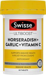 Swisse Ultiboost Horseradish + Garlic + Vitamin C High Strength supports immunity relieves sinusitis, hayfever, flu, running nose, watery eyes, sneezing and congestion