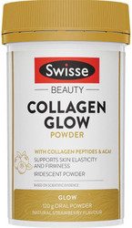 Swisse Beauty Collagen Glow Powder featuring Collagen Peptides, Vitamin C, Vitamin E, a blend of acai, goji and grape seed supports collagen production and skin integrity