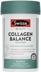 Swisse Beauty Collagen Balance Powder with Supergreens and Enzymes supports collagen production, skin repair and digestive system function