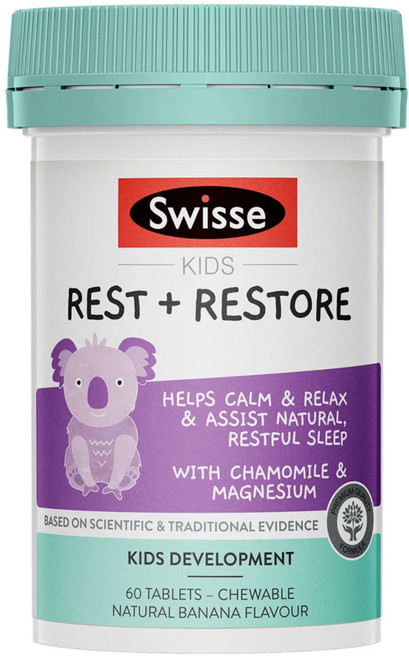 Swisse Kids Rest + Restore contains Chamomile to calm and relax the mind and support sleeping patterns for a natural, restful sleep. Plus magnesium to maintain muscle relaxation.