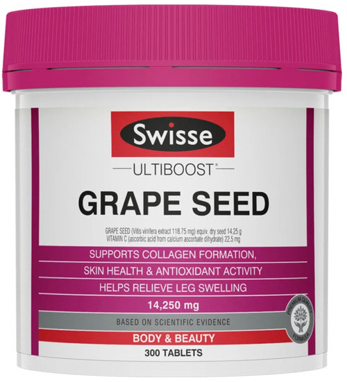 Swisse Ultiboost Grape Seed supports collagen formation, skin health, and antioxidant activity