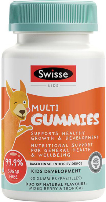 Swisse Kids Multi Gummies provides important vitamins and minerals including Vitamins C and D, Zinc and Iodine for fussy eaters and growing children