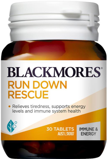 Blackmores Run Down Rescue relieves tiredness, supports energy levels and immune system health