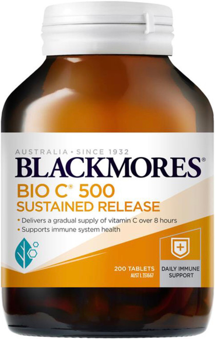 Blackmores Bio C 500mg Sustained Release relieves the symptoms of colds, flu and hayfever and allergic reactions