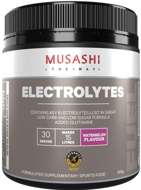 Musashi Electrolytes provides a blend of key minerals lost in sweat during sports or exercise to support your sports nutrition needs