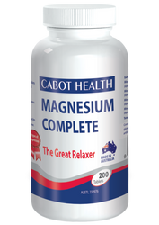 Cabot Health Magnesium Complete is a combination of four magnesium compounds to supplement inadequate dietary intake